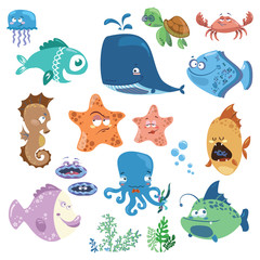Set of cartoon fish. Collection of funny baby fish. Vector illustration with marine residents.