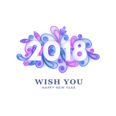 2018 paper art. Vector happy new year banner design, 3D quilling artwork on white background.