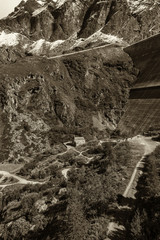 beautiful mountain landscape. Swiss alps with a dam  Grande Dixence Dam  . black-and-white image landscape.