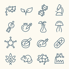 Biotechnology line icons