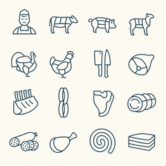 Butchery line icons