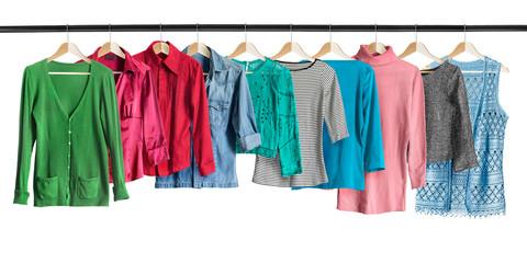 Shirts on clothes racks