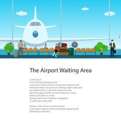 Airport Waiting Area with People and Text, View on Airplane through the Window from a Waiting Room , Travel and Tourism Concept, Poster Brochure Flyer Design, Vector Illustration
