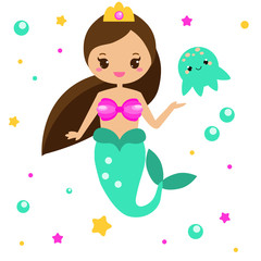 Cute Mermaid with jellyfish. Cartoon character, kawaii style. vector illustration