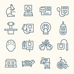 Medical equipment line icons