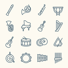 Orchestra instruments line icons