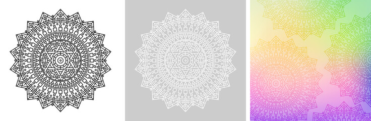 Geometric mandala with Star of David in center. Round pattern for coloring book. Square colorful gradient background.
