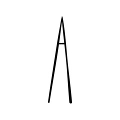 Capital letter A painted by brush isolated on white background
