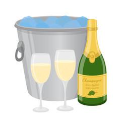 Champagne in ice bucket. Cartoon flat style. Vector illustration
