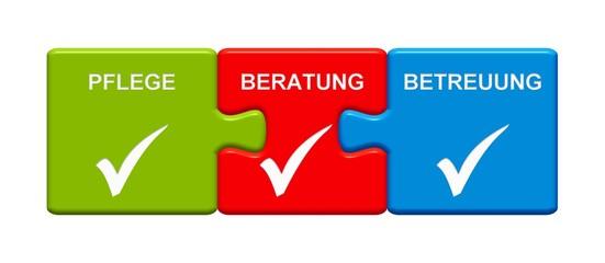 3 Puzzle Buttons zeigen Pflege Beratung Betreuung