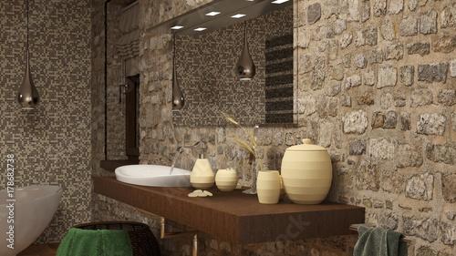 Bagno con lavabo e muro in pietra a vista\