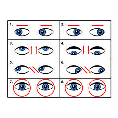 Exercises for eyes. Vector illustration.