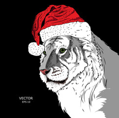 The christmas poster with the image tiger portrait in Santa's hat. Vector illustration.