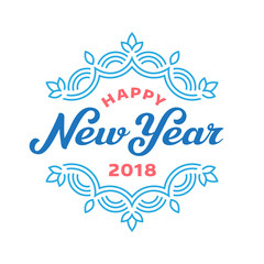 Happy new year 2017 lettering greeting card design