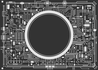 Computer circuit board with copy-space. Vector black and white illustration.