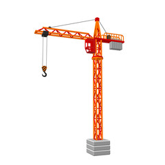 Tower crane. Isolated on white background. 3D Vector illustration.
