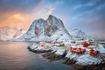 Printed roller blinds Scandinavia Hamnoy fishing village on Lofoten Islands, Norway