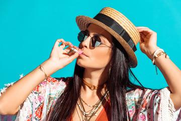 bohemian girl smoking cigarette