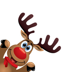 vector xmas drawing of funny red nosed reindeer
