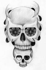 Art skulls tattoo. Hand pencil drawing on paper.