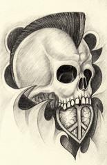 Art Design punk skull tattoo.Hand pencil drawing on paper.
