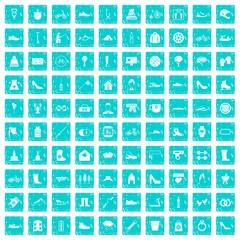 100 shoe icons set grunge blue
