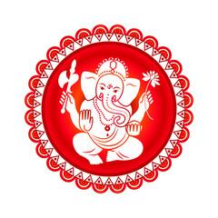 Hindu God Ganesha. Vector illustration.