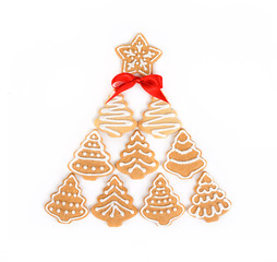 Christmas tree / Still life with decorated cookies in a Christmas tree shape