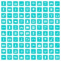 100 software icons set grunge blue