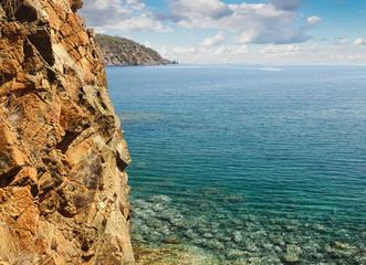 Mediterranean sea coast landscape with beautiful nature in Turkey