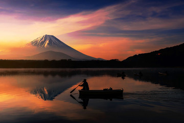 Silhouette  fishing boat with Mt. Fuji view