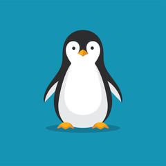 Fototapeta premium Ikona ładny pingwina w płaski.
