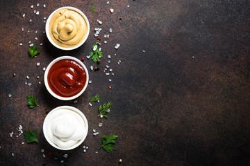 Tree classic sauce - ketchup, mayonnaise and mustard.