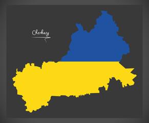Cherkasy map of Ukraine with Ukrainian national flag illustration