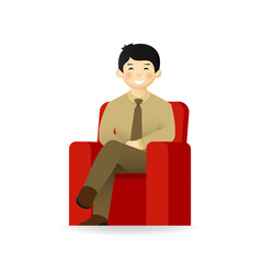 Vector asian man character in business suit sitting on chair