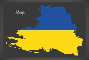 Kherson map of Ukraine with Ukrainian national flag illustration