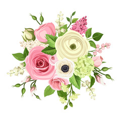 Vector bouquet of pink and white roses, lisianthuses, anemones, ranunculus, hydrangea and lily of the valley flowers isolated on a white background.