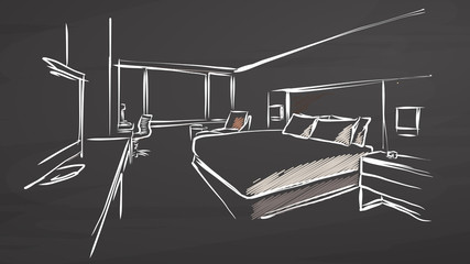 Hotel Interior Design Concept on Chalkboard