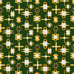 Computer chip technology processor circuit motherboard information system seamless pattern background vector illustration