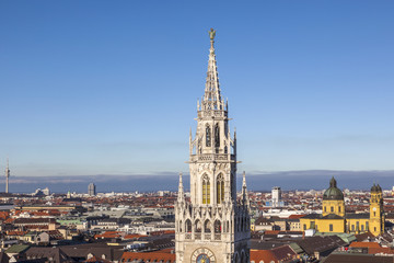 aerial of Munich with tower of new city hall
