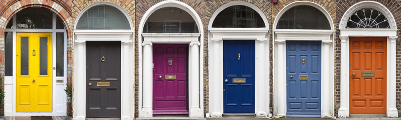 Set of colored doors in Dublin from Georgian times (18th century)