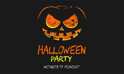 Scary halloween party with pumpkin background vector illustration for invitation card, celebration card, greeting card Isolated on black color