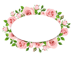 Vector white card with pink roses and green leaves.