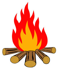 Bonfire on a white background vector eps 10