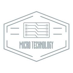 Modern micro technology logo, simple gray style