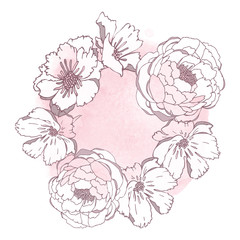 Hand drawn flowers  isolated on white background with watercolor blot. Greeting card with flowers, can be used as invitation card for wedding, birthday and other holiday and summer background.