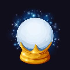 Vector magic crystal ball with sparkles.