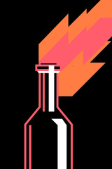 Symbol of revolution, burning molotov cocktail