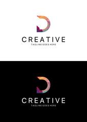 D letter logo. Polygonal D logo template