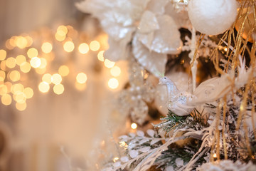 Christmas decorations in gold style/background